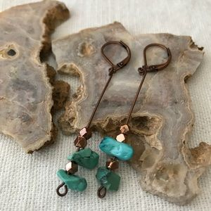 "2.5"" turquoise/copper earrings"